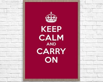 Keep Calm and Carry On Poster, Motivational Poster, Keep Calm and, Keep Calm And Carry On Print, Home Decor, Wall Art