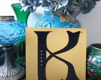 K - letter on wood, wooden letter, made hand, handmade, gift, present, gold or silver, gold or silver, black velvet, black velvet, rhinestones