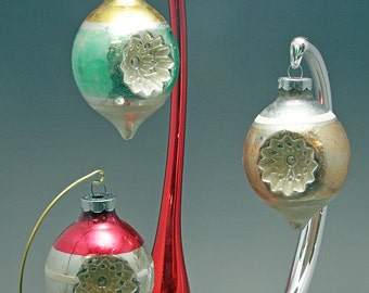 Vintage 3 Double Indent Large Striped Christmas Ornaments Gold, Red and Green Tear Drop Shaped Made in USA