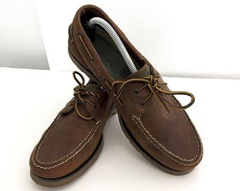 Vintage Sperry Top-Siders Brown Leather '90s Nubuck Suede Men's 10 Deck Shoes Chocolate Brown w/ Leather Laces Classic Preppy Boat Shoes