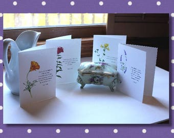cards, spiritual, religious, psalms, note cards, blank, floral