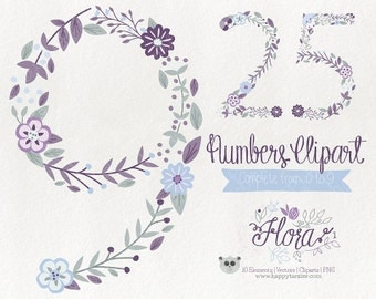 Flowers Clipart 70% OFF! - Numbers Clipart Vector Graphics  Clip Art PNG Flowers Floral 01 Purple Blue