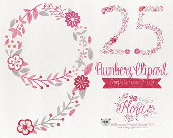 Flowers Clipart Numbers Clipart Vector Graphics  Clip Art PNG Flowers Floral 05 Red Pink Rose Tones