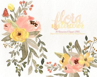 80% OFF! Watercolor Flora 05 Clipart, Flowers Clipart, Flower, Floral, Wreath, Bouquet, PNG, Clip Art, Watercolour, Coral, Yellow