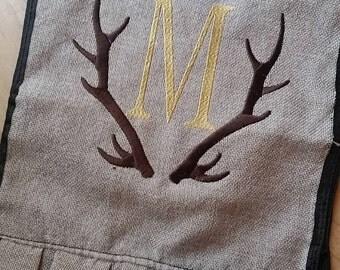 Monogram Garden Flag - Antler, Deer Personalized Burlap Garden flag - Double sided Ruffle Flower Bed - Wedding, bridal shower, new home