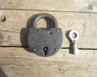 Soviet Padlock with key,Retro Padlock,Vintage door lock,Padlock decor,Door lock USSR,Rusted Door Lock,Rusty Padlock,Large Padlock,Rusty key
