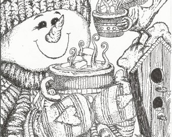 NEW! Snowman coloring page!