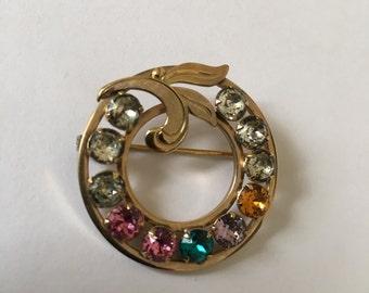 Beautiful Vintage 50's Van Dell 1/20 12k Gold Signed Rhinestones Brooch