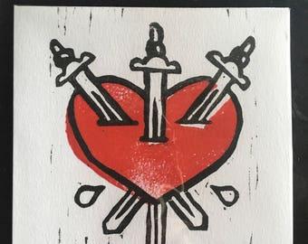 Three of swords tarot mini block print