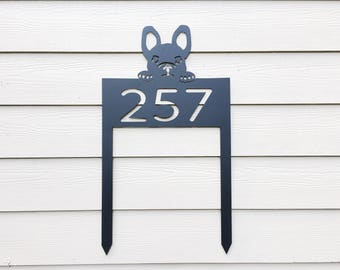 Dog House Number Sign - French Bulldog - Metal House Number Sign