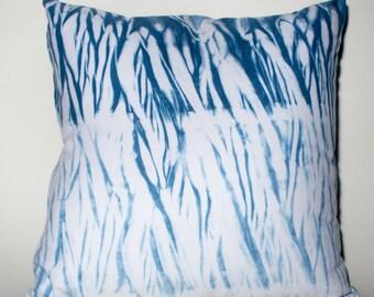 "Hand Dyed Shibori Pillow 16x16"""