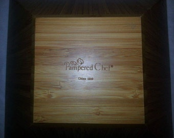 Pampered Chef Large Square Bamboo Salad Bowl