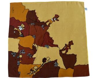 Vintage handmade in Soth Korea kids scarf brown yellow bears whelp100% silk