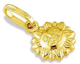 14k Yellow Gold Italian Puffy Sun Sunshine Pendant