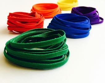 "Skinny Elastic - 1/8"" wide Colored Craft & Sewing Elastic - Rainbow Color Set (Red, Orange, Yellow, Green, Blue, Purple) 12 yards supply"