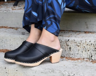 Swedish Clogs High Heel Classic Black Leather by Lotta from Stockholm / Wooden / Handmade / Scandinavian / Mules / Women's Shoes / Sweden