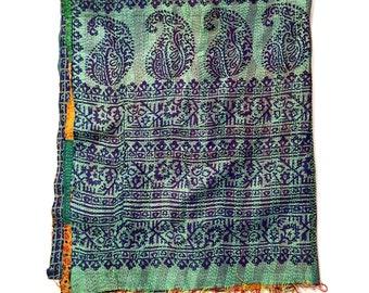 "Kantha Silk Fabric / XL - Scarf ""NAIHATI"""