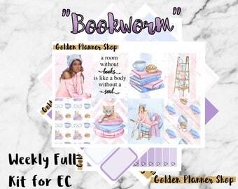 Bookworm Weekly Sticker Full Kit, Planner Stickers for Erin Condren Vertical Planner