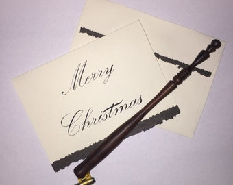 Christmas Card and Envelope   Hand Lettered Calligraphy   (Set of 5 or 10)