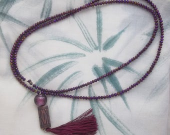 Burgundy Crystal Necklace with glass beads, copper and black tassel