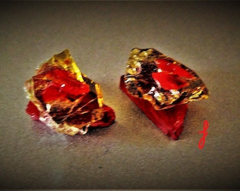 Stained glass cluster earrings  DG-R / dark gold  / red