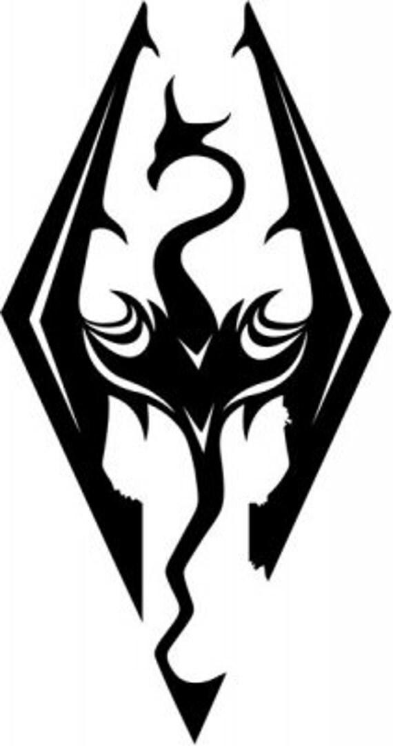 Vinyl Decal Sticker - Skyrim Dragons Gaming Decal for Windows, Cars, Laptops, Macbook etc
