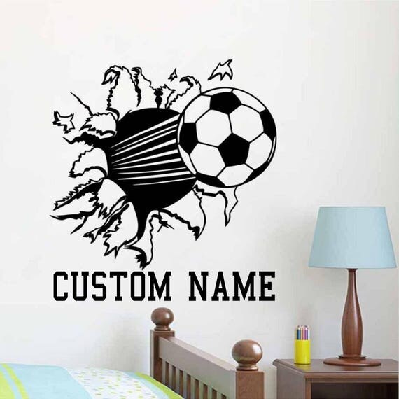 Custom Name Soccer Ball Wall Decal - Nursery Room Decor - Kids Room Wall sticker - Nursery Wall Decal  - Home Decor - Soccer Wall Decal