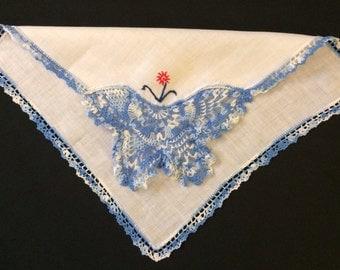 Blue Butterfly Pink Flower Crochet White Linen Handkerchief Vintage