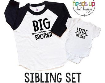 Big Brother/Little Brother Shirts - Toddler Big Bro/Baby Little Bro Raglan tshirt/Bodysuit - Sibling Shirts - Trendy - New Baby - Baby Gift