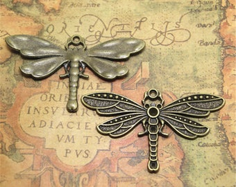 3pcs bronze tone Huge Dragonfly Cabochon Base Settings charm pendants, inner 8mm ASD1979