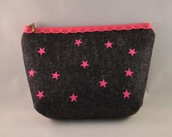 Kosmetikdascherl, cosmetic bag from felt