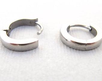 Stainless Steel Earrings Hoop in three Colors  Black  Silver and Gold