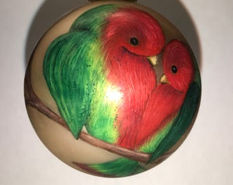 Love birds for the month of March on glass ball ornament