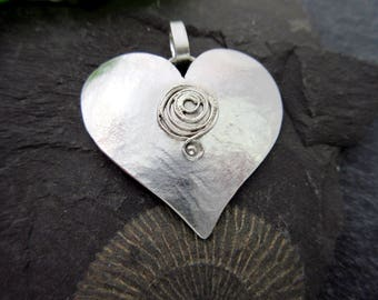 Spiral heart pendant silver pendant necklace sterling silver heart