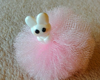 Tulle Puff Clips with Bunny Figurine