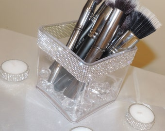 Rhinestone Rim Vanity Makeup Brush Holder Rhinestone Floral Vase