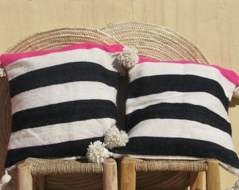 2 pillow cases,pom pom moroccan pillow,throw pillow,kilim pillow,decorative pillow,black stripes berber pillow,cushion cover,moroccan decor