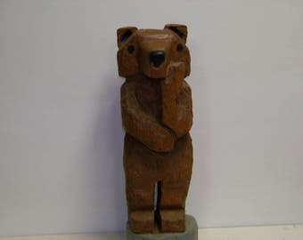 "Chainsaw Carved ""Thinking"" Bear"