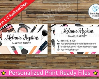 Makeup business etsy makeup artist business cards make up fashion stylist printable digital personalized custom card spa salon aesthetician reheart Choice Image