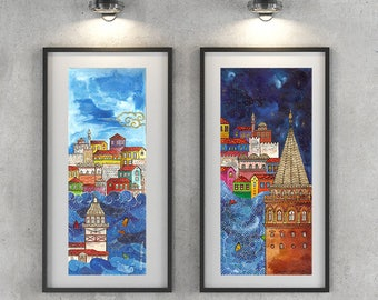 Watercolor wall art, printable miniature painting, home decor, Istanbul- Maiden's Tower, instant downloadable, handmade print
