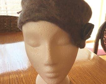 Gray and Purple Felt Hat