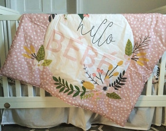 Hello Bébé Whole Cloth Quilt & Fitted Sheet Set
