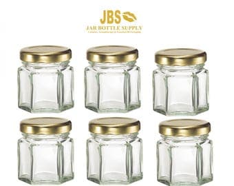 Set of 6 Glass 1.5 oz. Hexagon Jars with Gold Metal Lug Caps MINI Jars Honey, Jam, Preserves, Nuts, Candy, DIY Wedding Party Shower Favors