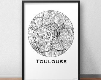 Poster map Toulouse Minimalist Map - City map, city Poster, wall Decoration, city map, printing of Art