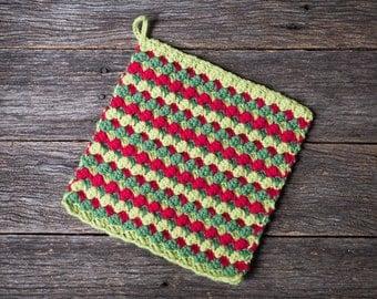 Happy Christmas Crochet Pattern - afghan block, potholder, washcloth, square - pdf