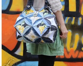Hippie of jeans bag, shoulder bag, Upcycling