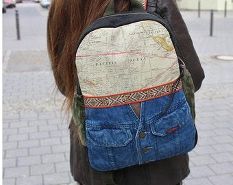 Backpack GLOBETROTTER, jeans, leather, Upcycling