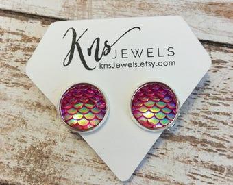 Mermaid Clip on earrings, 12mm Mermaid earrings, Clip on Earrings, Clip on Studs, Wedding, Bridesmaids, Druzy Earrings