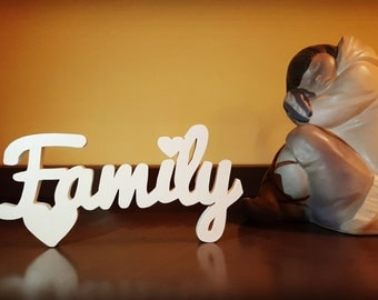 Wooden Family with written outline
