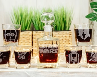 Star Wars Gift Glass Whiskey Decanter Set Personalized Decanter Groomsmen Gift Gift for Men Scotch Glass Decanter Whiskey Glasses Decanter
